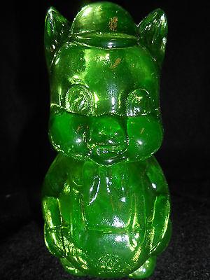Green Vaseline glass porky Pig swine paperweight uranium yellow canary / cartoon