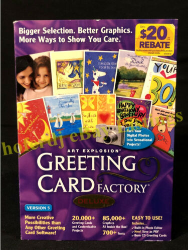 NOVA Art Explosion Greeting Card Factory Deluxe Version 5 Software on CD