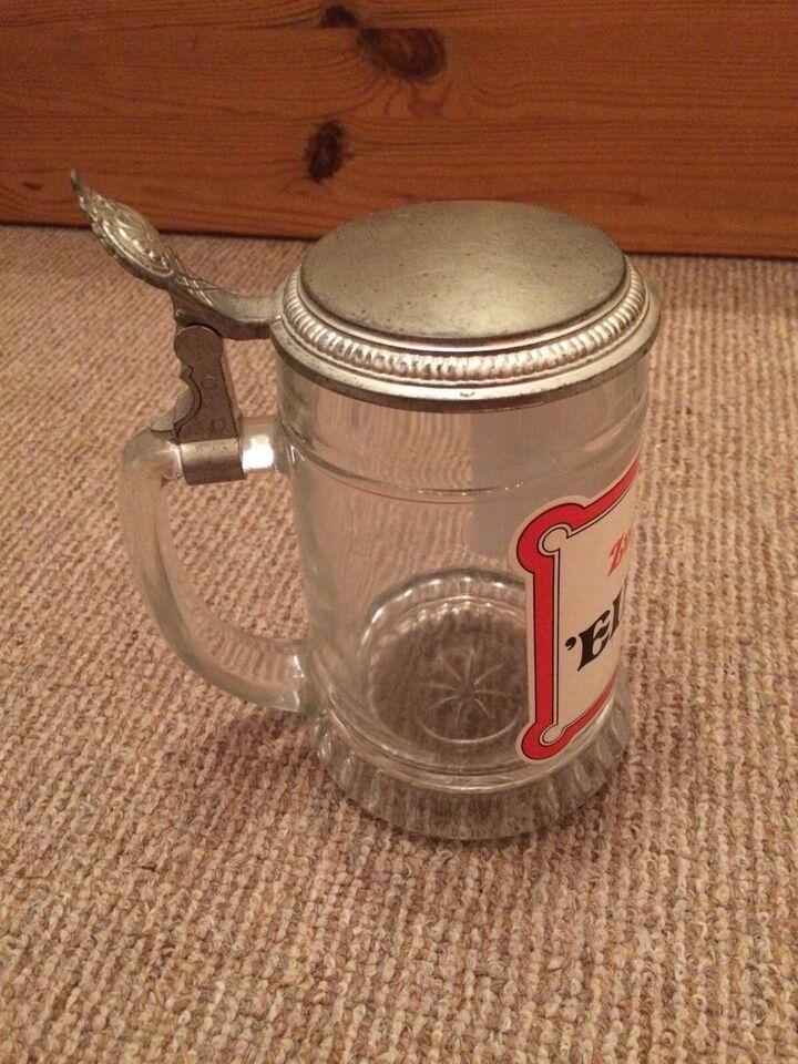 """Glas Bierkrug mit Deckel """"Zwei Worte:Ein Bier"""" in Schleswig-Holstein - Seth Holstein"""