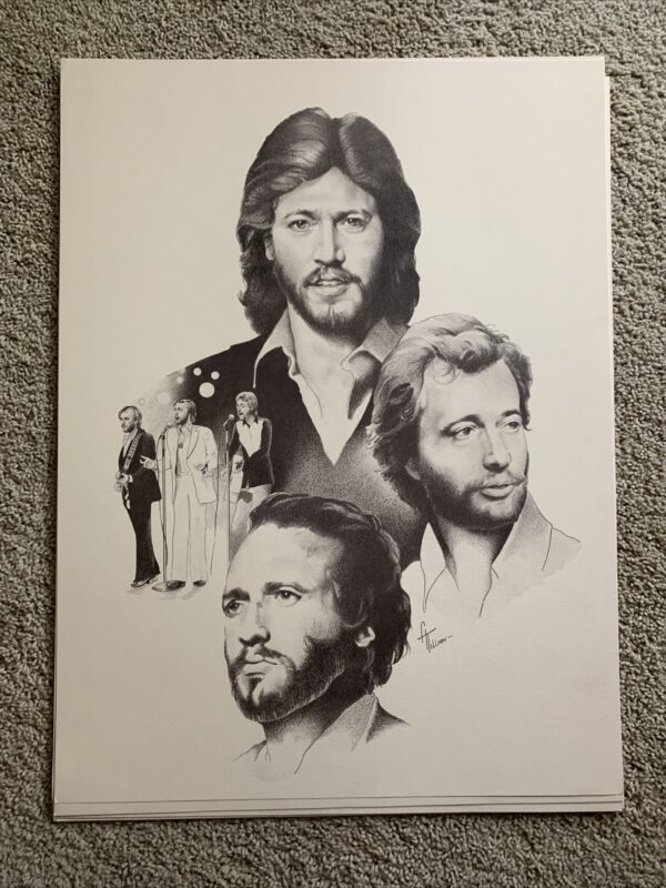 Bee Gees Vintage 1978 18x24 Poster Print Collage Drawing Tillman Heavy Paper