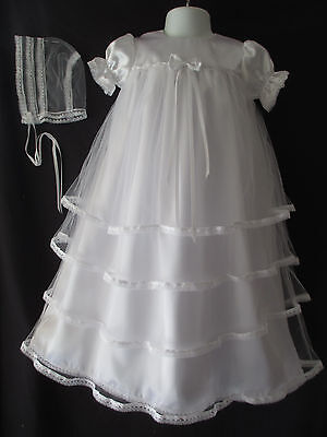 (Baby Girls White Satin Tulle Christening Gown Baptism Dress Size 0-3 3-6 6-12 M)