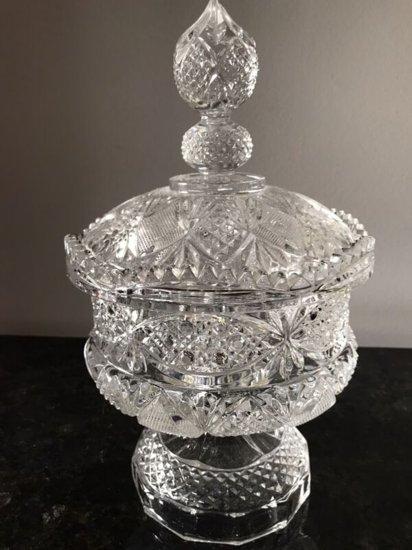 Antique 1900s Hand Cut Lead Crystal 2 piece Large Footed Compote Bowl