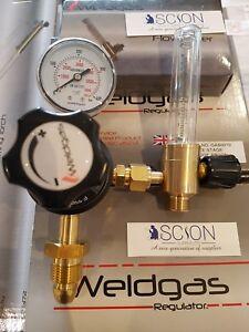 Argon Regulator Single Stage One Gauge 0-10 Bar c/w Flow Meter MIG TIG Welding