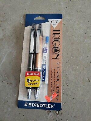 New Staedtler Trigon 9818 0.7mm Automatic Pencils 2-pk W 12 Leads Blackcopper