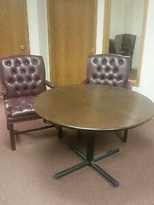 Real wood table with 4 leather chairs