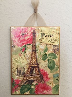 """Paris Eiffel Tower & Roses Postcard Plaque Sign Wall Decor French Cottage  5""""x7"""""""
