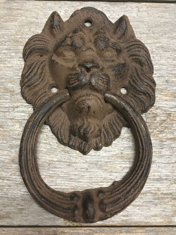 Cast Iron Antique Style Rustic LION HEAD Door Knocker Brown