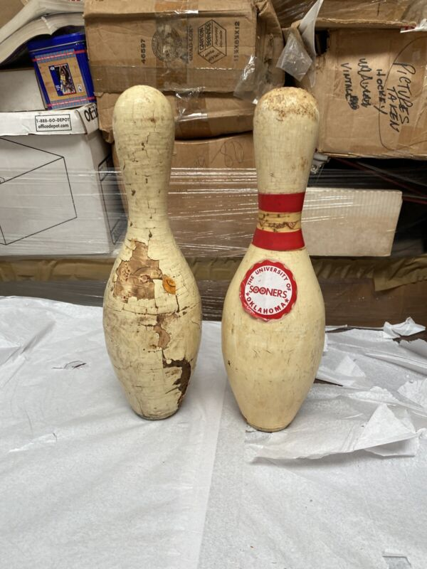 2 Vintage Old Wooden Bowling Pins (wear)