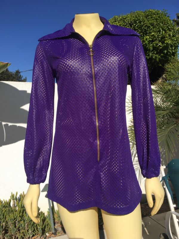 Vintage Womens 70s Cole Of California Purple Net Bathing Suit Cover Up