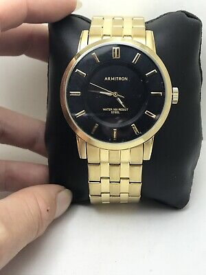 Armitron Men's Black Sunray Dial GOLD TONE Bracelet Watch 20/4962BKGP-H11