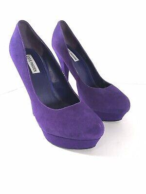 "Steve Madden Kattrina Purple Suede Leather Womens Platform High Heels Sz 10M 6"""