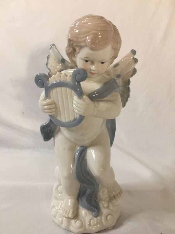 Porcelain Angel Playing Harp 11 Inches Tall Statue/Figurine