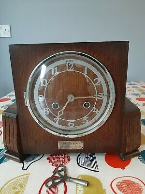 Vintage Bentima Art Deco Wooden Chiming mantel clock