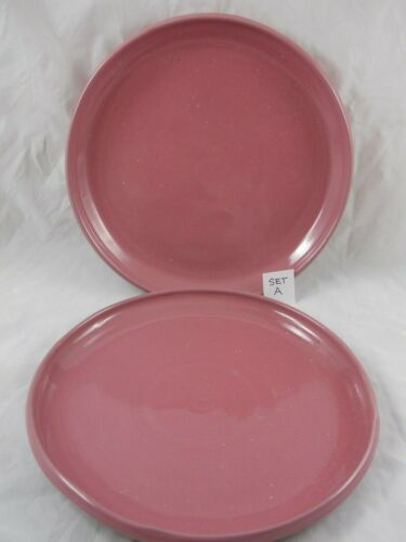 Set A of 2 Vintage Pink Bybee Pottery 10 Inch Dinner Plates Kentucky Made Craft