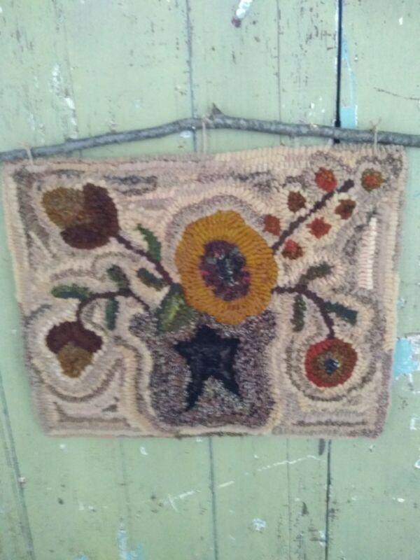 Primitive hand hooked wool rugs