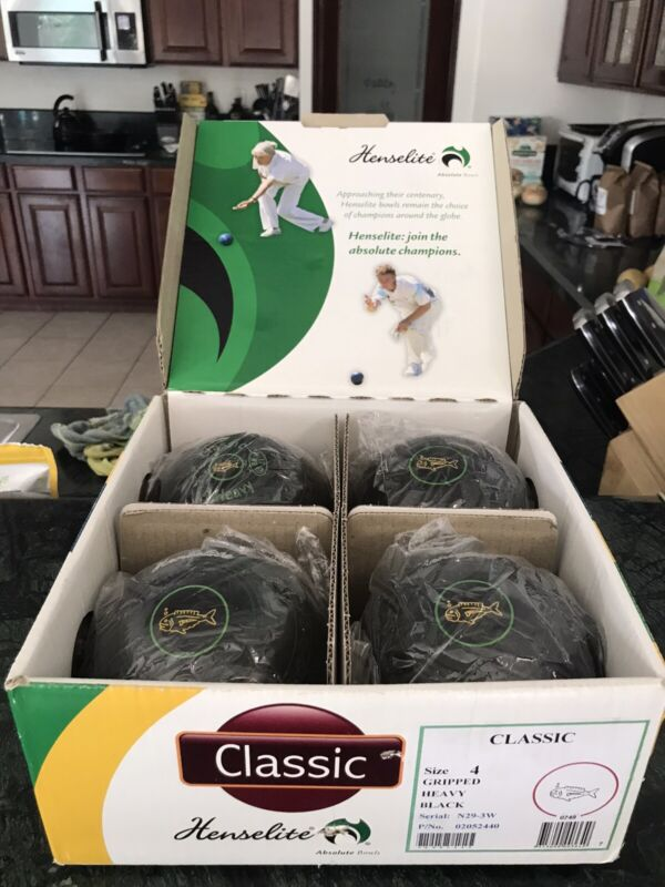 Henselite Classic Size 4 Heavy Black Lawn Bowls, New, In Original Packaging