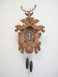 REGULA West Germany Black Forest Hunter Style 8 Day Cuckoo Clock 22 tall Works