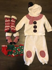 XMAS SNOW MAN OUTFIT AND SLIPPERS AND SOCKS
