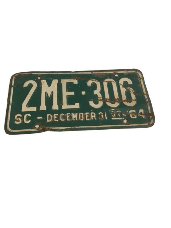 Vintage 1964 South Carolina License Plate 2ME-306