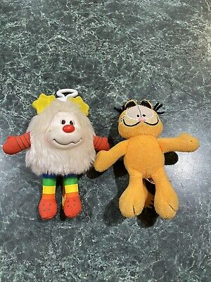 Vintage Garfield & Rainbow Brite Plush Mini Keychains