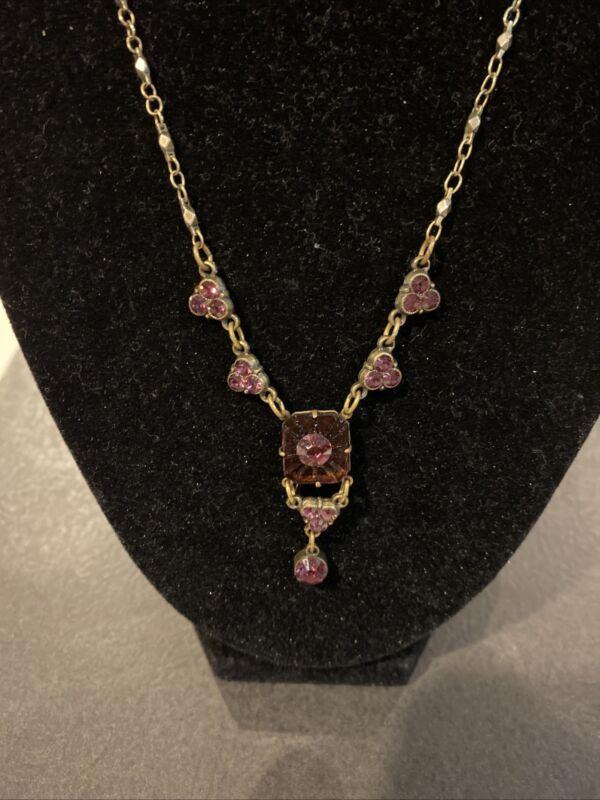 Vintage Art Deco Amethyst Glass Necklace