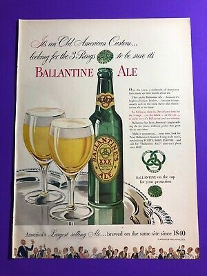 """1940s Jewelry Styles and History 1940's """"Ballantine Ale"""" beer print ad """"3 Rings"""" Newark New Jersey 14x10.5"""" $17.00 AT vintagedancer.com"""