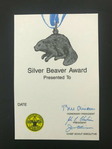 BSA Boy Scouts Of America Silver Beaver Card Unused, 1993 Printing, Bill Clinton