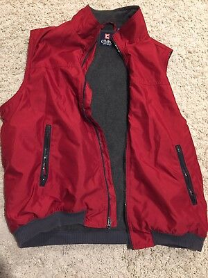 Chaps Mens L Red Polyester Fleece Lined Zip Winter Vest - Red Polyester Fleece