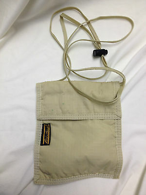 Eddie Bauer Travel Neck Bag Tan Adjustable Neck Strap 5x6 inches