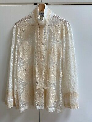NWT Palomo Spain Lace and Embroidered Woman's Blouse Size S Ret $695