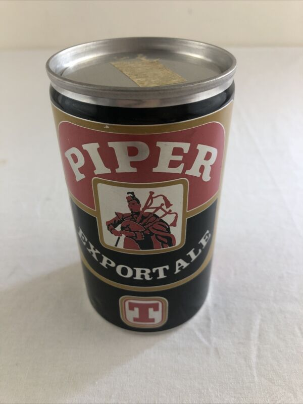 Piper Extra Export 12 oz Steel Scotland UK Beer Can - Bottom Opened