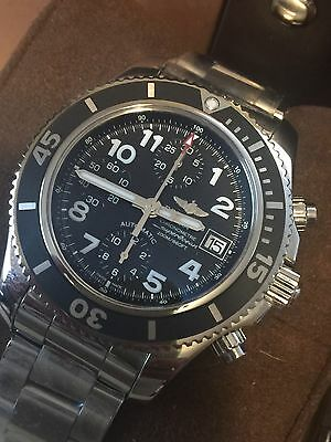 New 2017 Breitling Superocean Chronograph 42 Black Steel Bracelet A13311C9/BE93