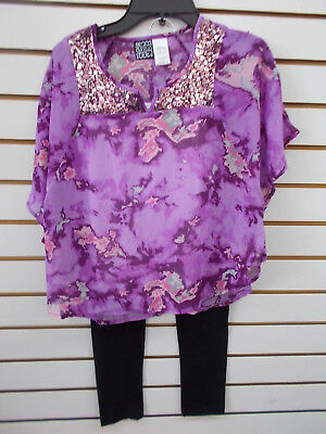 Girls Pogo Club 3Pc Purple Overlay W  Sequins Set Size 7 8   14 16