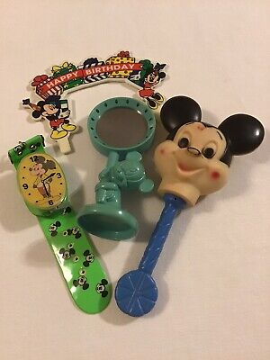 Vintage Disney Mickey Mouse Baby Toys Rattle Mirror Play Watch Cake Topper