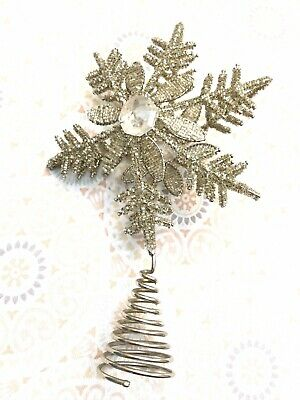 Beautiful Beaded Silver Tone Snow Flake Tree Topper Wire Metal -
