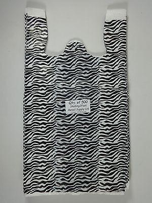 500 Qty. Zebra Print Design Plastic T-Shirt Retail Shopping Bags w/ Handles Lg