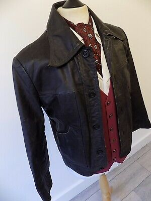 VINTAGE mens 1970's SOFT BROWN LEATHER TRUCKER BOMBER JACKET BLAZER 38""