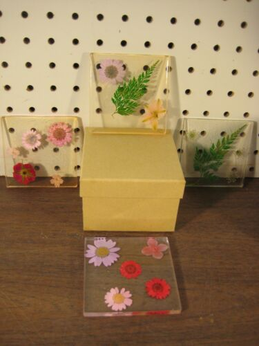 Handmade Resin Coaster Set with Embedded Artificial Flowers