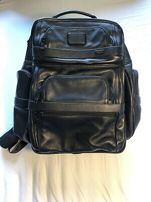 Tumi T-Pass Black Leather Backpack