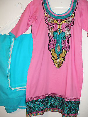 Punjabi patiala salwar suit pink and turquoise