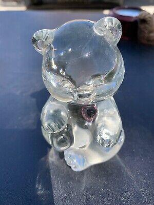 February Amethyst Color Heart - Vtg Clear Glass Fenton Bear colored birthstone heart February Amethyst Mint
