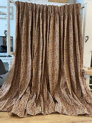 Vintage Gold Tapestry Huge Blanket Weight INTERLINED Curtains*2 Pairs Available
