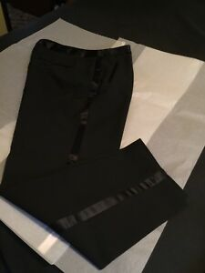 Dress pants with satin strip down legs