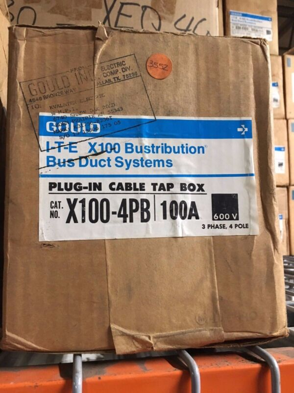 Gould X100-4pb 100a 3ph 4w 600v Ite X100 Busduct System Plug In Tap Box Surplus