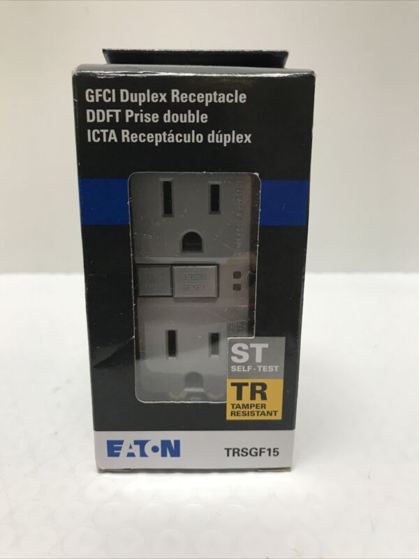 EATON GFCI duplex Receptacle Self Test Tamper Resistant TRSGF12 Gray TRSGF15GY-