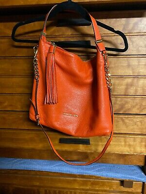 Michael Kors orange leather chain satchel handbag GREAT CONDITION