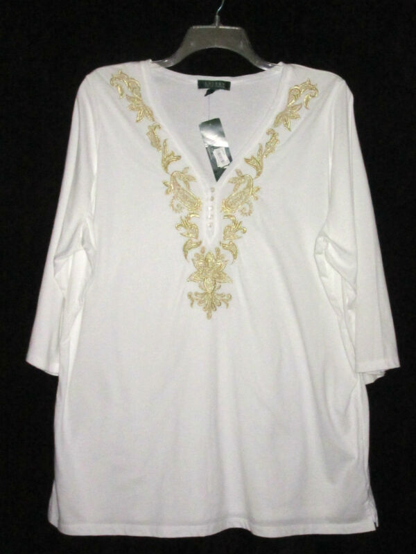 NWT Ralph Lauren Woman 2X Top White Cotton Knit Tunic Gold Embroidery V-Neck NEW