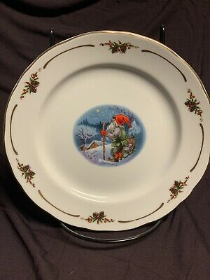 CHRISTINEHOLM PORCELAIN ELVE PLATE OLD FASHION CHRISTMAS EXCLUSIVE 6.5 inch