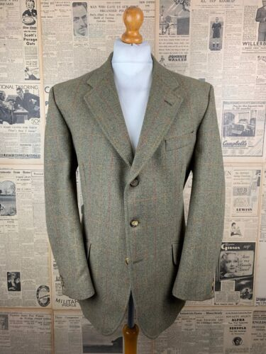 Vintage Gurteen green windowpane checked jacket size 44