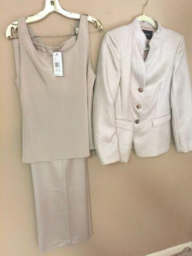 LAFAYETTE 148 NWT Size 10/8 Tan Slack Suit 3 Piece Silk Spandex Poly LOVELY S/M
